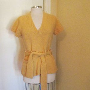 Anthropologie Sparrow Yellow Sweater Pullover Belt